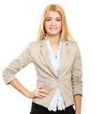 背景查出的常设白人妇女年轻人 免版税库存图片