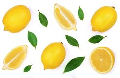 背景查出的柠檬白色 平的位置,顶视图 库存照片