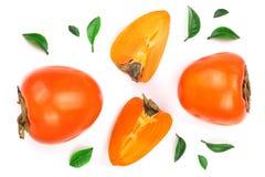 背景查出的柿子白色 顶视图 平的位置样式 库存照片