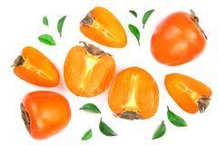 背景查出的柿子白色 顶视图 平的位置样式 免版税库存图片
