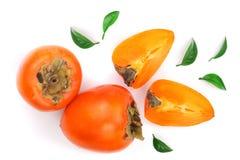 背景查出的柿子白色 顶视图 平的位置样式 免版税图库摄影
