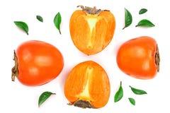 背景查出的柿子白色 顶视图 平的位置样式 免版税库存照片