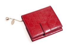背景查出的皮革钱包红色白色 免版税库存图片