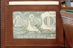 背景查出的皮革货币钱包白色 库存照片