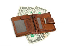 背景查出的皮革货币钱包白色 免版税库存图片