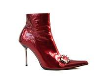 背景查出的红色穿上鞋子白人妇女 免版税库存照片
