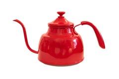 背景查出的红色茶壶白色 免版税库存图片