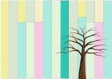 背景树和五颜六色的墙壁葡萄酒上色传染媒介例证 库存照片