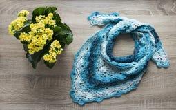 背景树花kalandiva黄色bactus披肩钩编了编织物天蓝色的蓝色蓝色部分洗染的毛海织物美利奴绵羊的羊毛丙烯酸的毛线 免版税库存照片