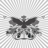 背景样式和一只老鹰与枪 免版税库存照片
