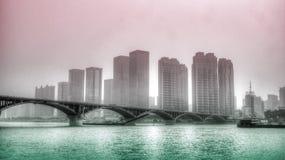 背景桥梁城市街道画grunge例证样式称呼了都市向量 图库摄影