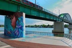 背景桥梁城市街道画grunge例证样式称呼了都市向量 免版税库存图片