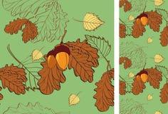 背景桦树无缝房檐的橡木 免版税库存图片