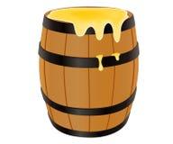 背景桶蜂蜜例证空白木 库存图片