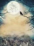背景棒万圣节月光附注 与月亮和死的树的鬼的天空 库存图片