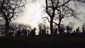 背景棒万圣节月光附注 有古老十字架的老坟园在日落 影视素材