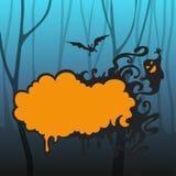 背景棒万圣节月光附注 有框架的鬼的森林的文本,棒飞行和鬼魂 皇族释放例证