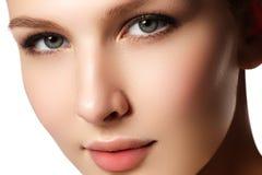 背景棕色化妆用品灰色头发健康长做妇女的纵向 美好的妇女模型f特写镜头画象  库存图片
