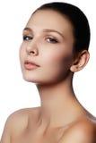 背景棕色化妆用品灰色头发健康长做妇女的纵向 美好的妇女模型f特写镜头画象  库存照片