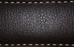 背景棕色黑暗的皮革 免版税库存照片