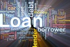 背景概念发光的贷款 库存例证