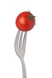 背景樱桃叉子查出的蕃茄白色 免版税库存图片