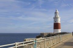 背景欧洲风景视图向开普角,直布罗陀灯塔和直布罗陀海峡 库存照片