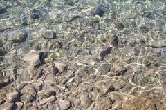 背景水,海,关闭表面岩石的 太阳射线的反射在水和浅土壤,海洋浅滩的  库存照片