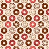 背景油炸圈饼食物系列 模式无缝的向量 库存照片