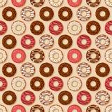 背景油炸圈饼食物系列 模式无缝的向量 免版税库存图片