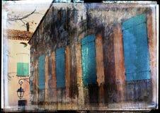 背景法国grunge房子 免版税图库摄影