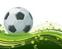 背景波浪球的足球 免版税图库摄影