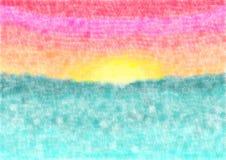 背景海上的水彩日落 库存图片