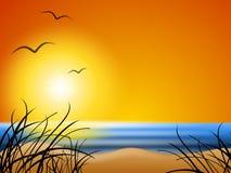 背景海滩夏天日落 库存例证