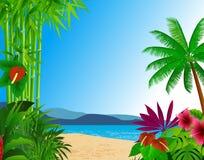 背景海滩森林 皇族释放例证