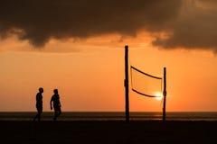 背景海滩查出的排球白色 免版税图库摄影