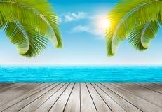 背景海滩蓝色五颜六色的天空伞假期 与棕榈树和蓝色海的海滩 库存图片