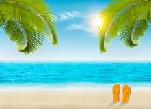 背景海滩蓝色五颜六色的天空伞假期 与棕榈树和蓝色海的海滩 免版税库存照片