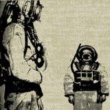背景深潜水员海运 库存例证