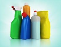 背景清洁布新的橙色海绵用品 家用化工产品洗涤剂瓶 免版税库存照片