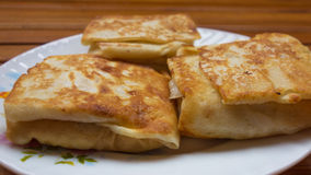 背景点心干酪红色村庄的薄煎饼 免版税库存图片