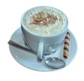 背景热奶咖啡咖啡杯查出的路径白色 库存照片