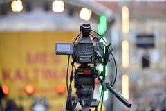 背景照相机专业视频白色 免版税库存照片