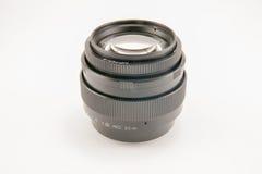 背景照相机前面查出的透镜视图白色 库存照片