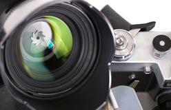 背景照相机前面查出的透镜视图白色 免版税库存图片