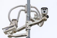 背景照相机cctv高例证查出质量白色 照相机概念证券监视墙壁 私有财产prote 库存照片