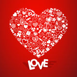 背景爱红色玫瑰色符号白色 图库摄影