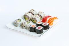 背景牌照寿司白色 免版税图库摄影