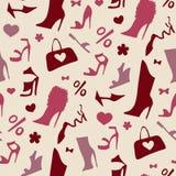 背景特写镜头不同的英尺停顿高查出的行程红色鞋子运动鞋体育运动二名佩带的白人妇女妇女 无缝的模式 图库摄影