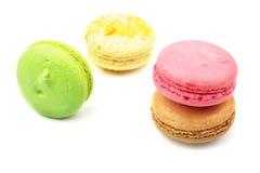 背景特写镜头纤巧法国蛋白杏仁饼干甜种类白色 库存照片